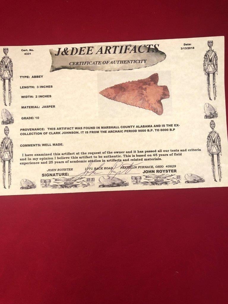 ABBEY    INDIAN  ARTIFACT ARROWHEAD WITH  COA - 5