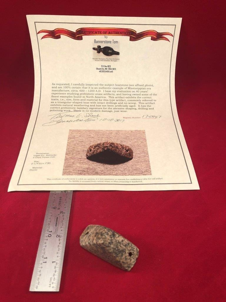 BOATSTONE  INDIAN ARTIFACT ARROWHEAD  WITH  COA