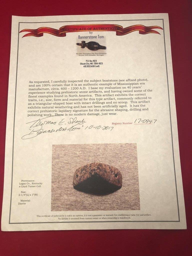 BOATSTONE  INDIAN ARTIFACT ARROWHEAD  WITH  COA - 6