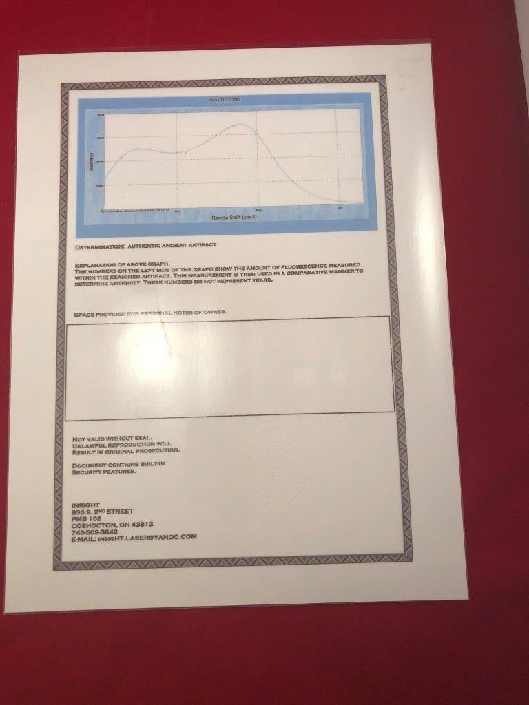 HOPEWELL PLATFORM PIPE  ARTIFACT ARROWHEAD WITH 3  COAs - 9