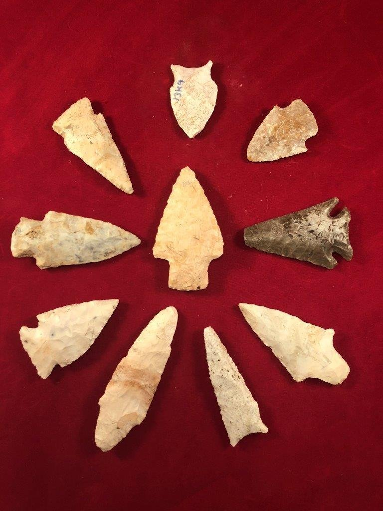 10 MISSOURI POINTS  INDIAN ARTIFACT ARROWHEAD