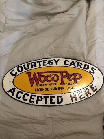 WOCO/PEP DOUBLE SIDED PORCELAIN  SIGN