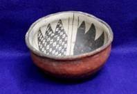 Anasazi Bl/Wh. on Red Bowl