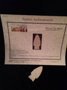 HARDIN ARROWHEAD WITH MOUND CITY RELICS COA
