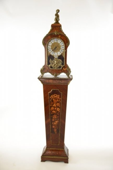 Tiffany & Co. Marquetry Clock and Matching Pedestal