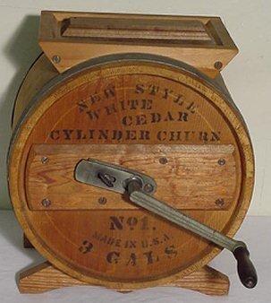 5: White Cedar Wooden Cylinder Churn No. 1 - 3 Gal. Sig