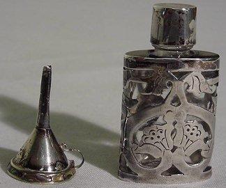 6: Sterling Overlay Perfume Bottle w/ Funnel