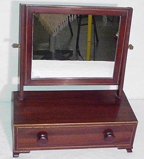 7: Walnut Inlaid Shaving Mirror w/ Drawer - Ogee Feet
