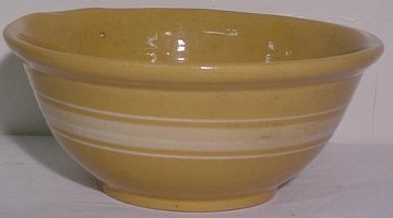 14: Early Yelloware Stone Mixing Bowl w/ 3 White Rings