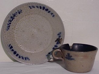 23: Jugtown Blue Decorated Pottery Plate & Cup Signed
