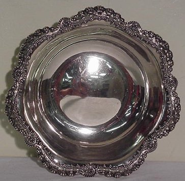 77: Large Fancy Tiffany & Co. Scalloped Sterling Bowl S