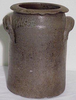 104: NC 6 Qt. Pottery Crock Signed JFB  John F. Brower