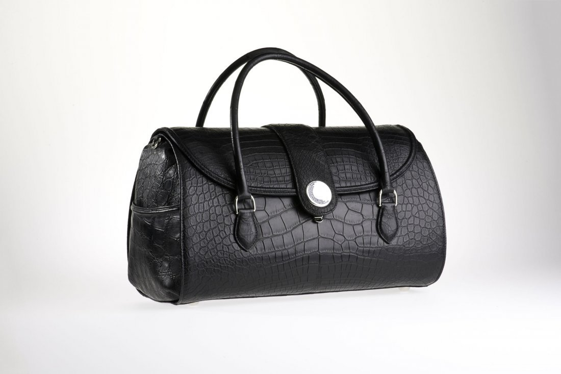 Diana Crocodile Handbag - Black w/ Sapphires