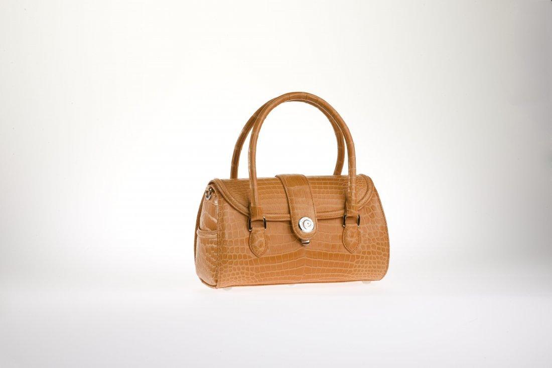 Diana Crocodile Handbag - Canteloupe w/ Sapphires