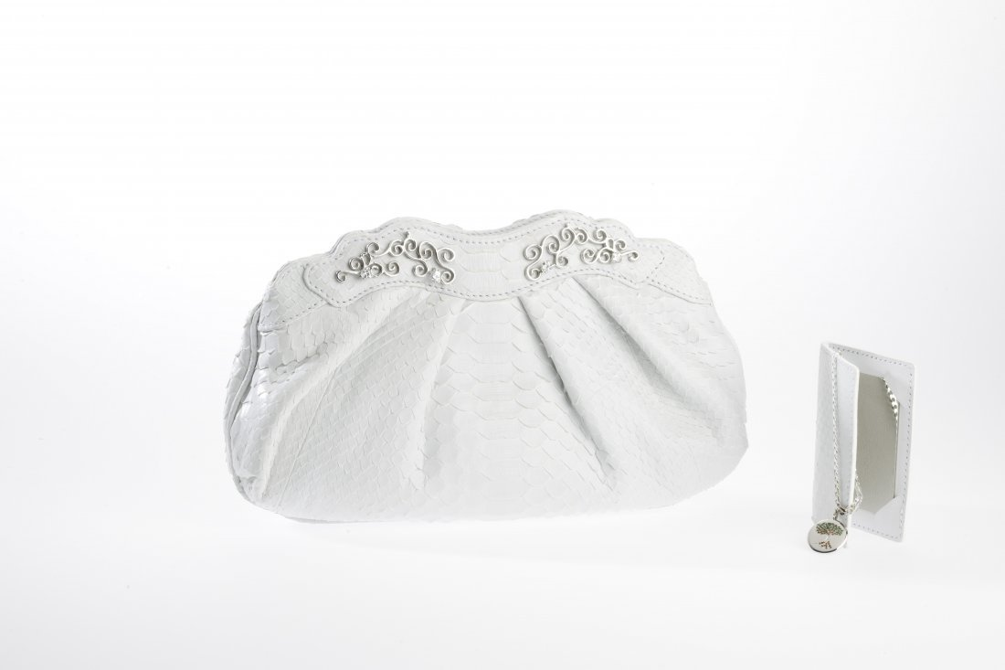 Loren Clutch - Platinum w/ White Diamonds