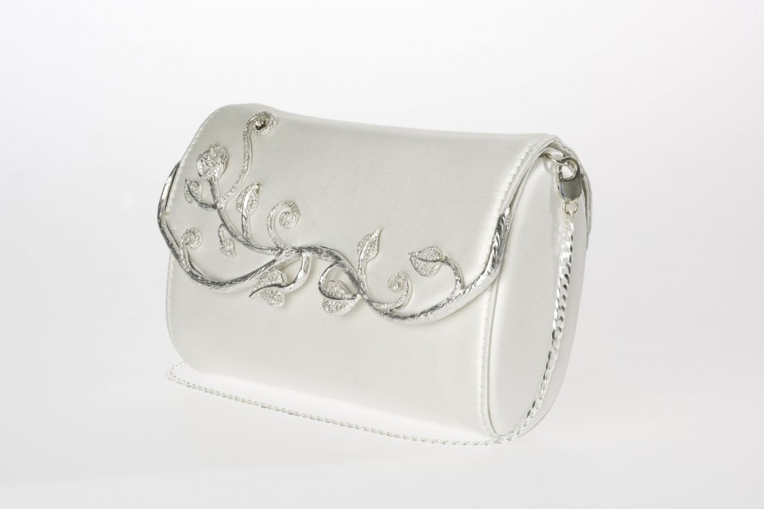 Evelyn Silk Clutch - White w/ Diamonds