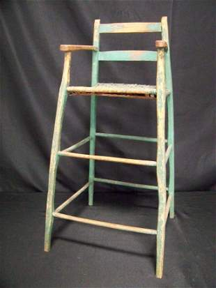 Green Painted Child's High Chair