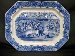Ironstone Platter of a Game Cock Competition