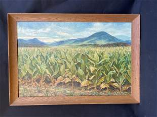 Oil Painting of Tobacco Field