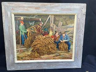 Oil Painting of Family Tying Tobacco