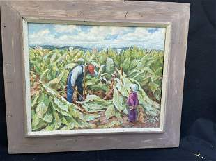 Oil Painting of Family Cutting Tobacco