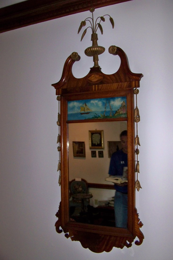 Inlaid Walnut Chippendale Mirror with Reverse Painting