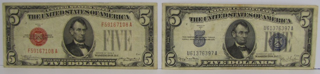 2 Five Dollar Silver Certificates