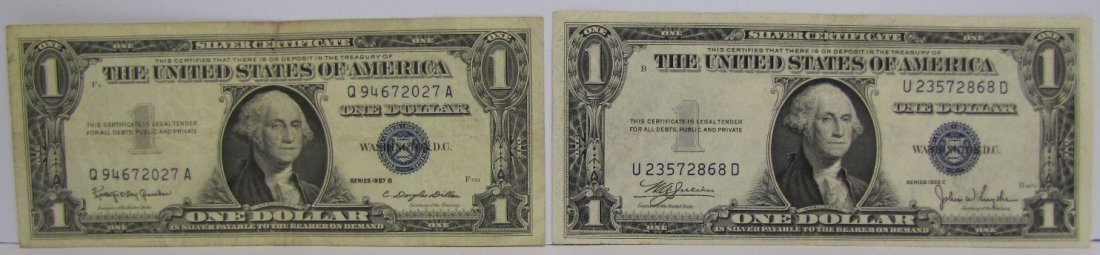 2 One Dollar Silver Certificates