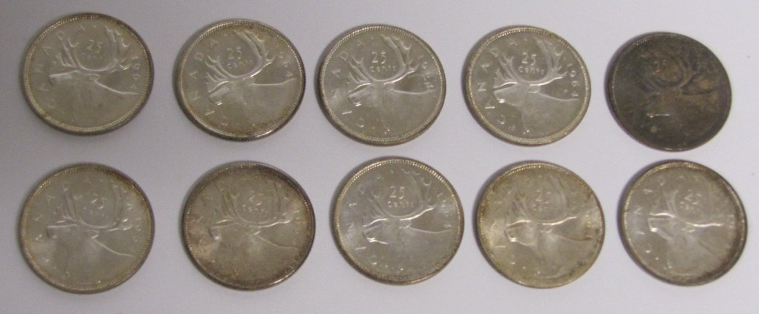 10 - 1964 Canadian Silver Quarters