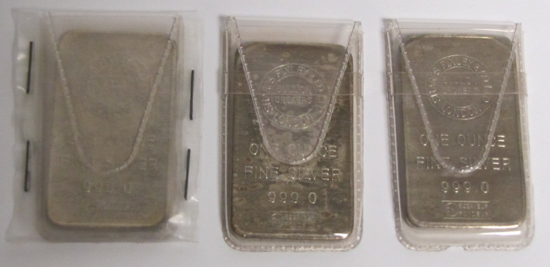 3 - Sharps Pixley & Co. Silver One Ounce Bars