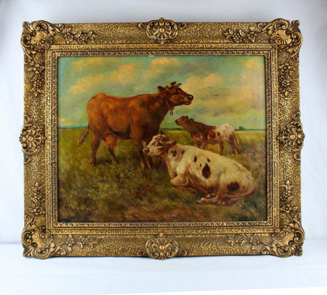 Paul Henry Schouten (Belgian, 1864-1927) oil panel cows