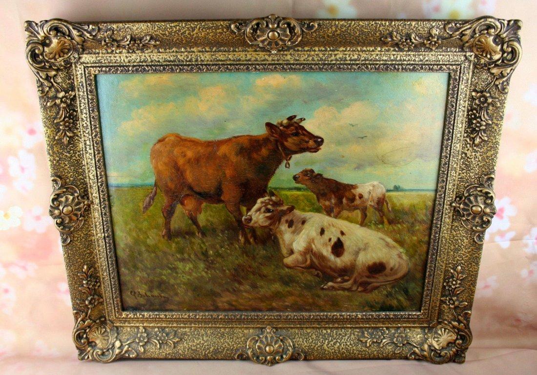 Paul Henry Schouten (Belgian, 1864-1927) oil panel cows - 2