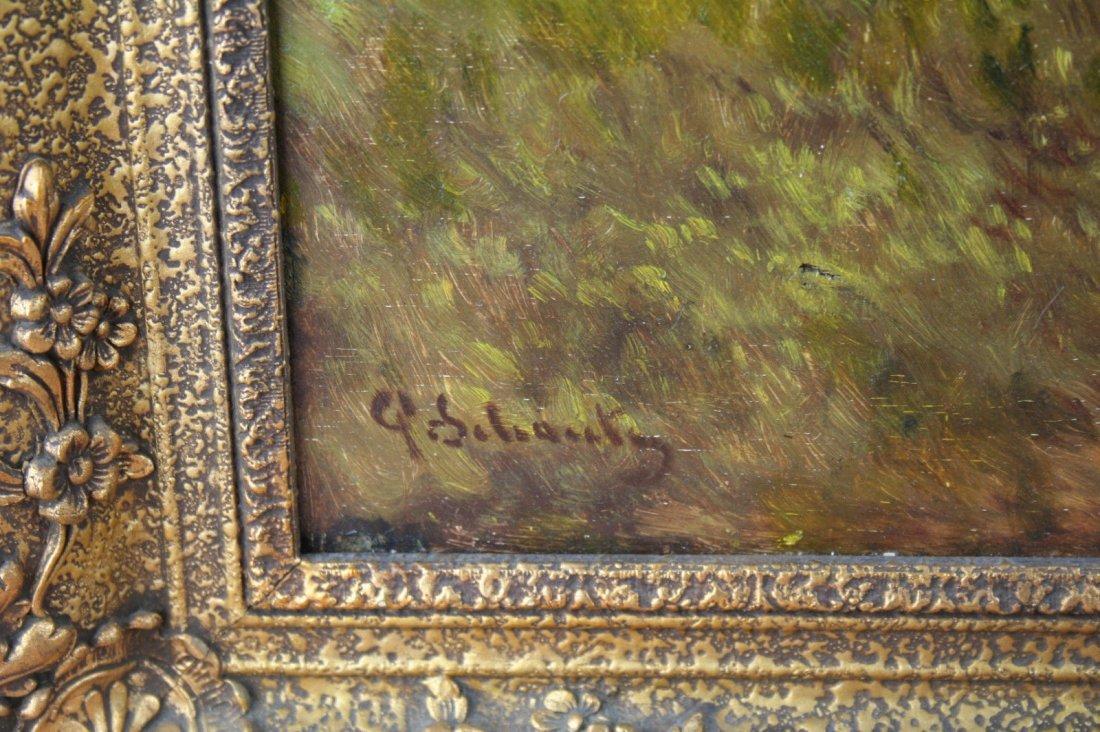 Paul Henry Schouten (Belgian, 1864-1927) oil panel cows - 5