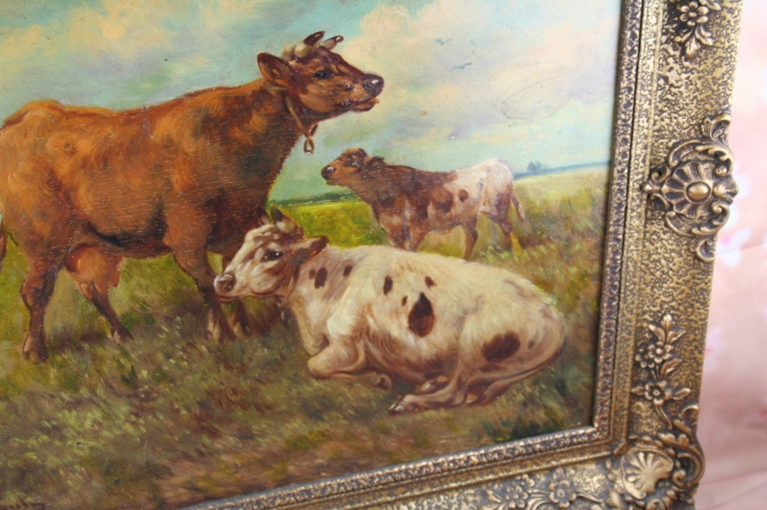 Paul Henry Schouten (Belgian, 1864-1927) oil panel cows - 6