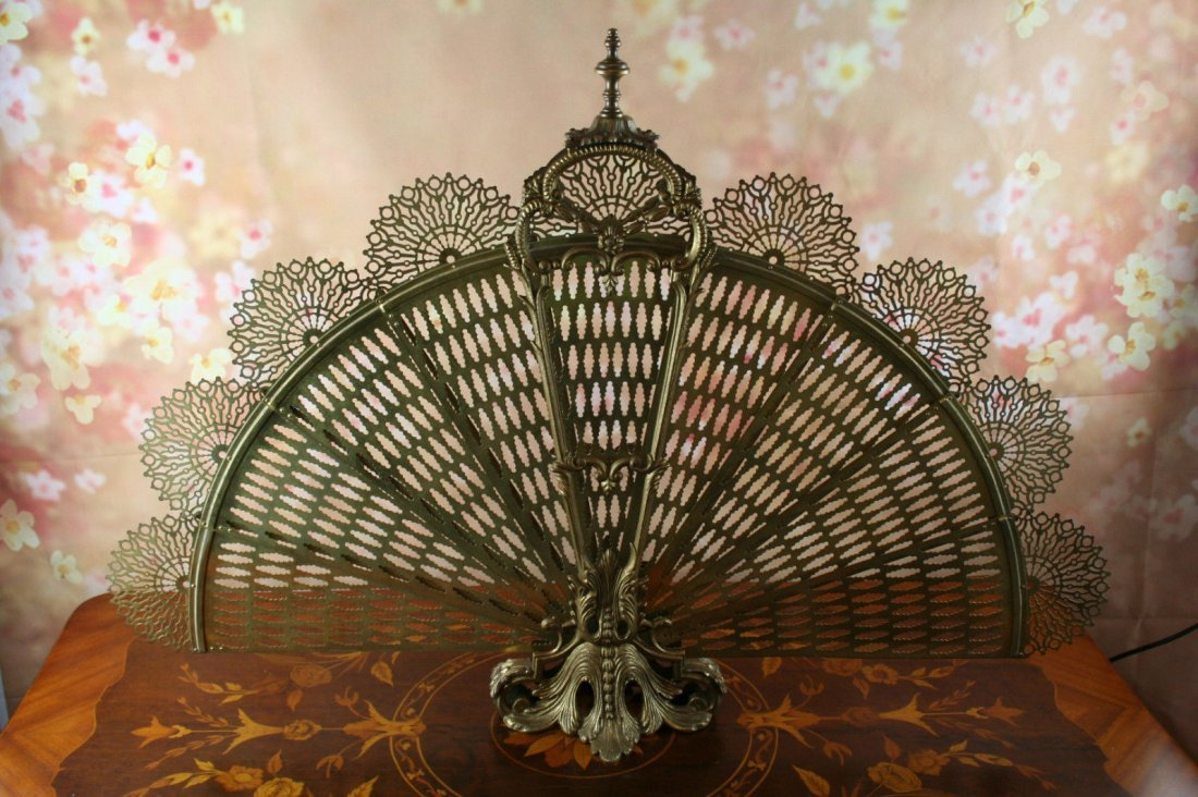 peacock folding fan screen antique
