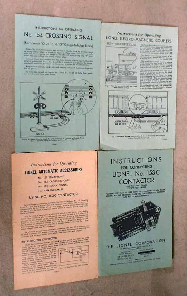 008: 100 ORIG LIONEL INSTRUCTION SHEETS