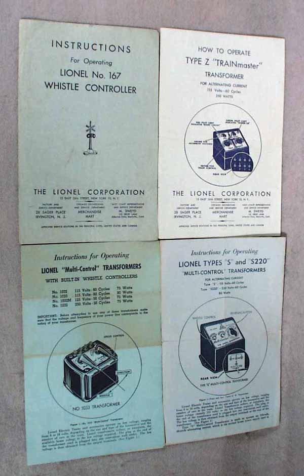 013: 50 ORIG LIONEL INSTRUCTION SHEETS