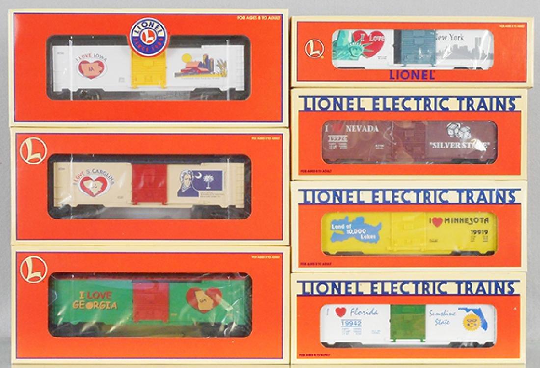 """7 LIONEL """"I LOVE"""" BOX CARS"""