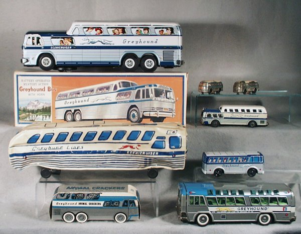 007A: 8 GREYHOUND TOY BUSES