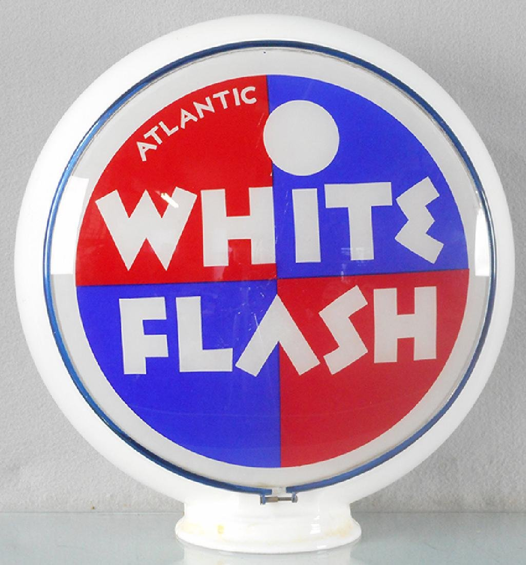 ATLANTIC WHITE FLASH GASOLINE GLOBE