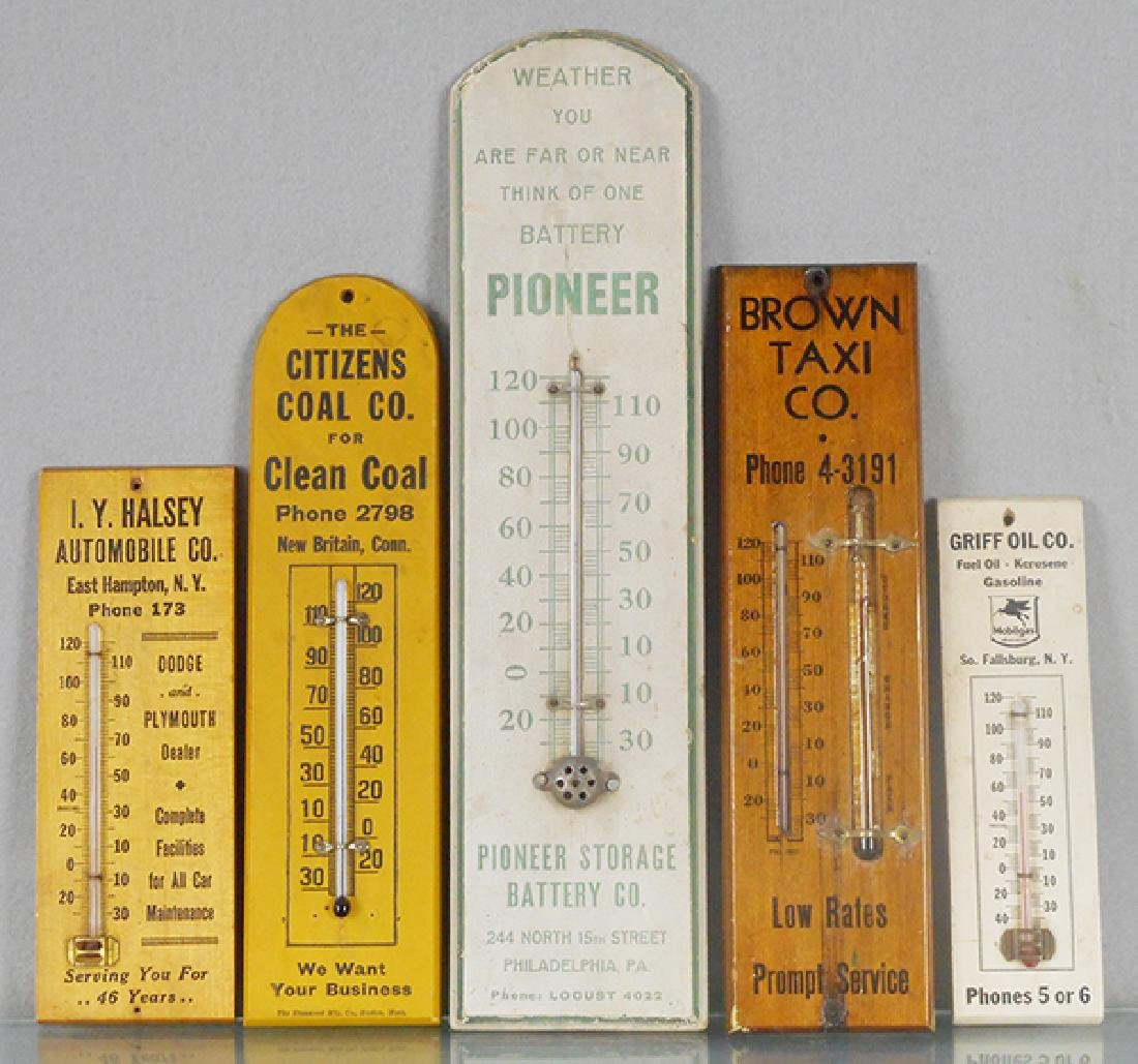 5 WOODEN ADVERTISING THERMOMETERS
