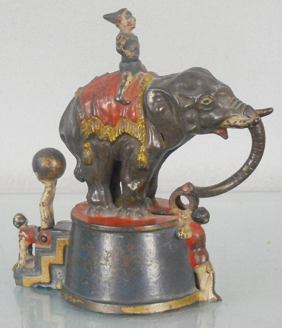 J&E STEVENS ELEPHANT & 3 CLOWNS MECHANICAL BANK
