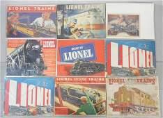 9 LIONEL CATALOGS