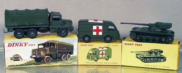 3: 3 FRENCH DINKY MILITARY VEHICLES
