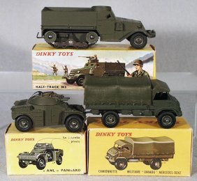 8: 3 FRENCH DINKY MILITARY VEHICLES