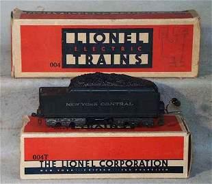 LIONEL 004W TENDER & ORIG BOXES