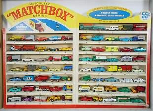 MATCHBOX 1968 CARDBOARD DISPLAY w/75 VEHICLES