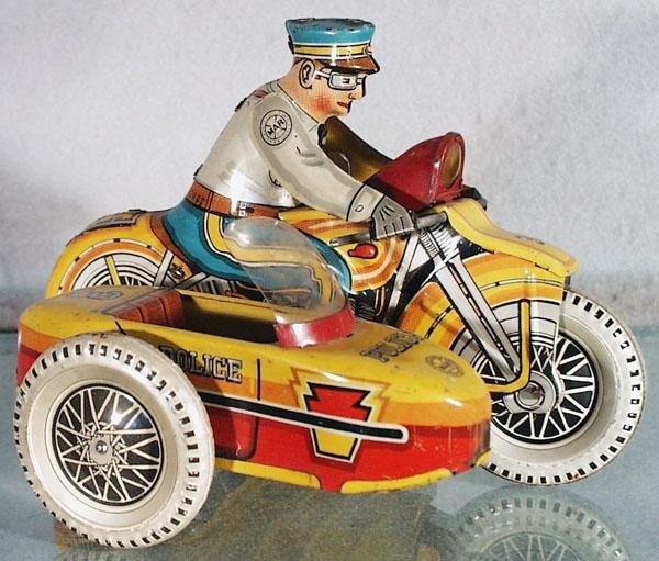 047: MARX POLICE MOTORCYCLE W/SIDECAR