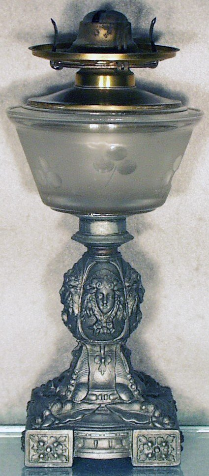 16: URN WITH FLORAL BASE OIL LAMP