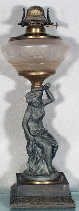 SEATED WOMAN OIL LAMP